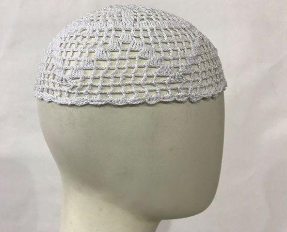 Gorro Islâmico de crochê branco (takia, kufi) cod. 009