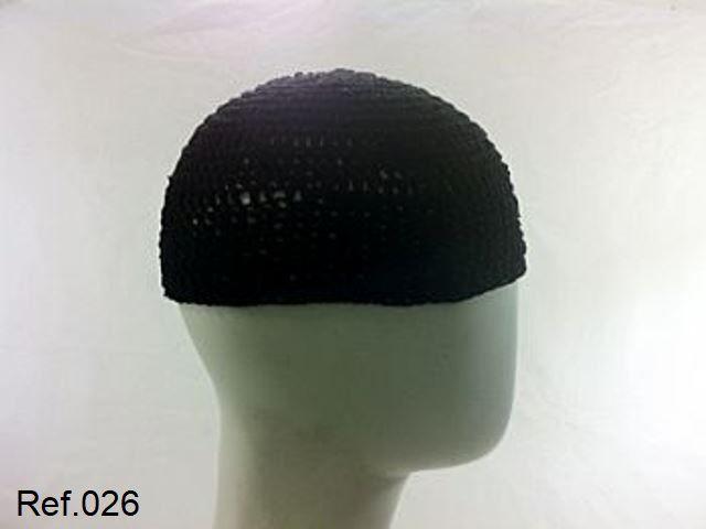 Gorro Islâmico de crochê preto (takia, kufi) Tam. G