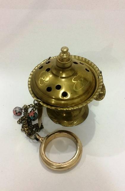 Incensário para Mirra (Bahul) com tampa e corrente - cod. 743