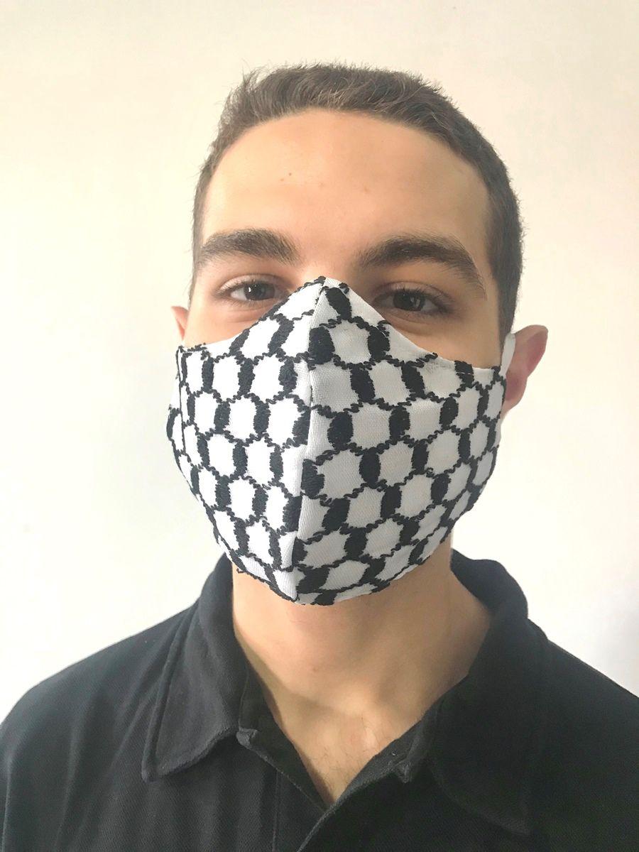 Kit 10 Máscaras de tecido lavável 3 camadas alta proteção de keffiyeh lenço árabe palestino