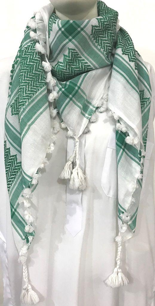 Lenço árabe Palestino, Kafieh, com franjas de alta textura (Verde). Ref.27