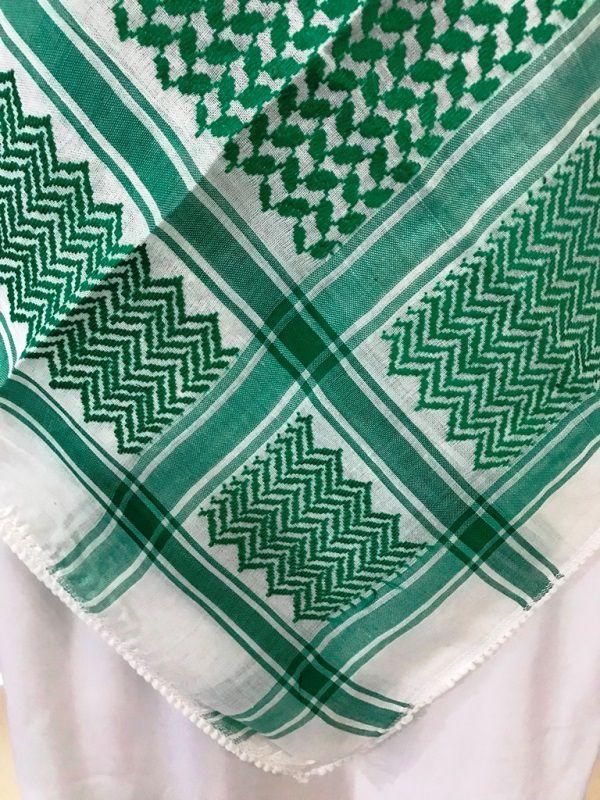 Lenço árabe Palestino, Kafieh, Shemagh, de alta textura (Verde). Ref.34