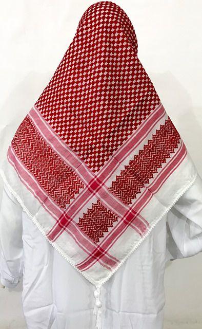 Lenço Palestino Árabe Vermelho e Cordão Preto (Shemagh / Kefieh e Ikal) cod.514