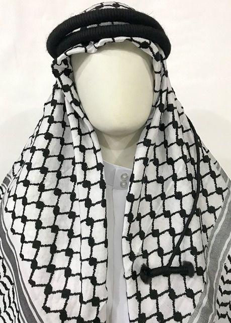 Lenço Palestino e Cordão Preto,  Shemagh /  Kefieh e Ikal - cod.512