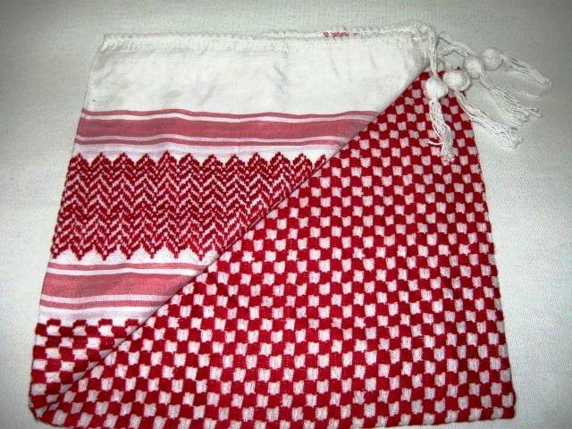 Lenço Palestino, Kafieh, Shemagh de luxo com franja, alta textura (Vermelho) Ref.31
