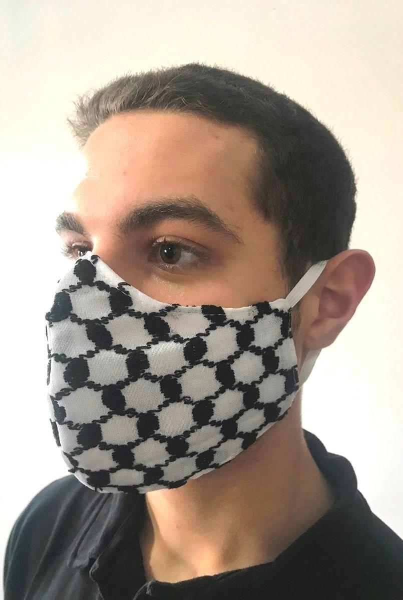 Máscara de tecido lavável dupla camada, keffiyeh lenço árabe palestino