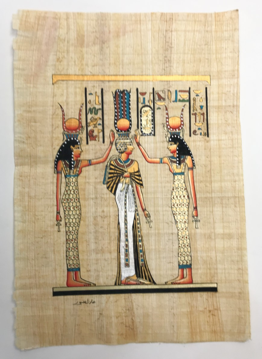 Papiro Egípcio original com temas Faraônicos. Ref.42