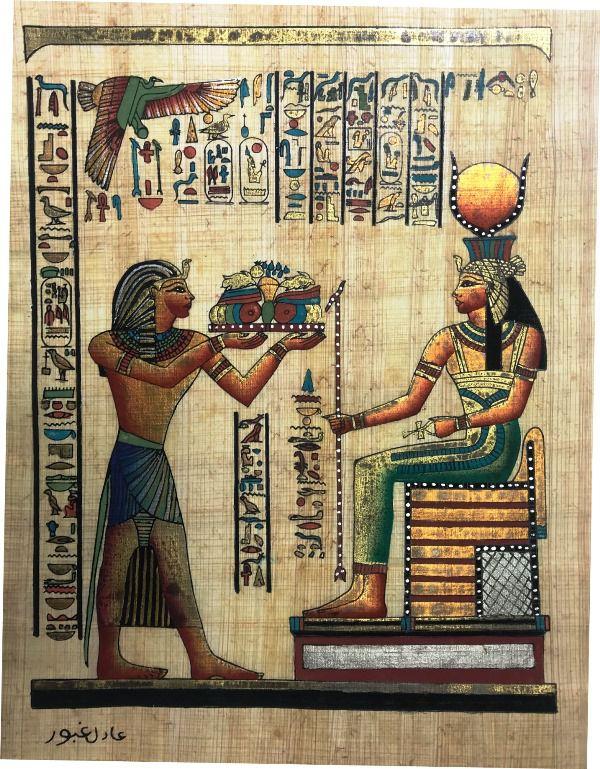 Papiro Egípcio original com temas Faraônicos. Ref.59