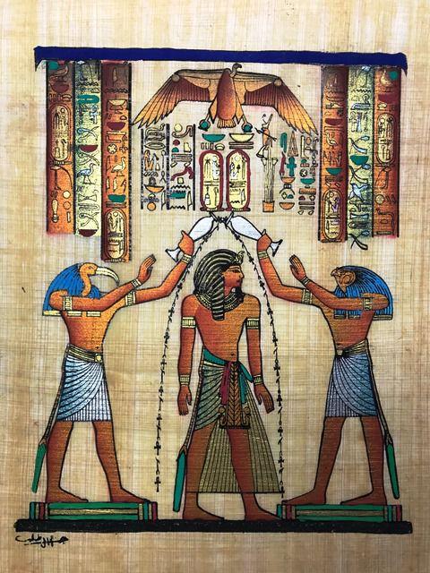 Papiro Egípcio original com temas Faraônicos – Ref.62