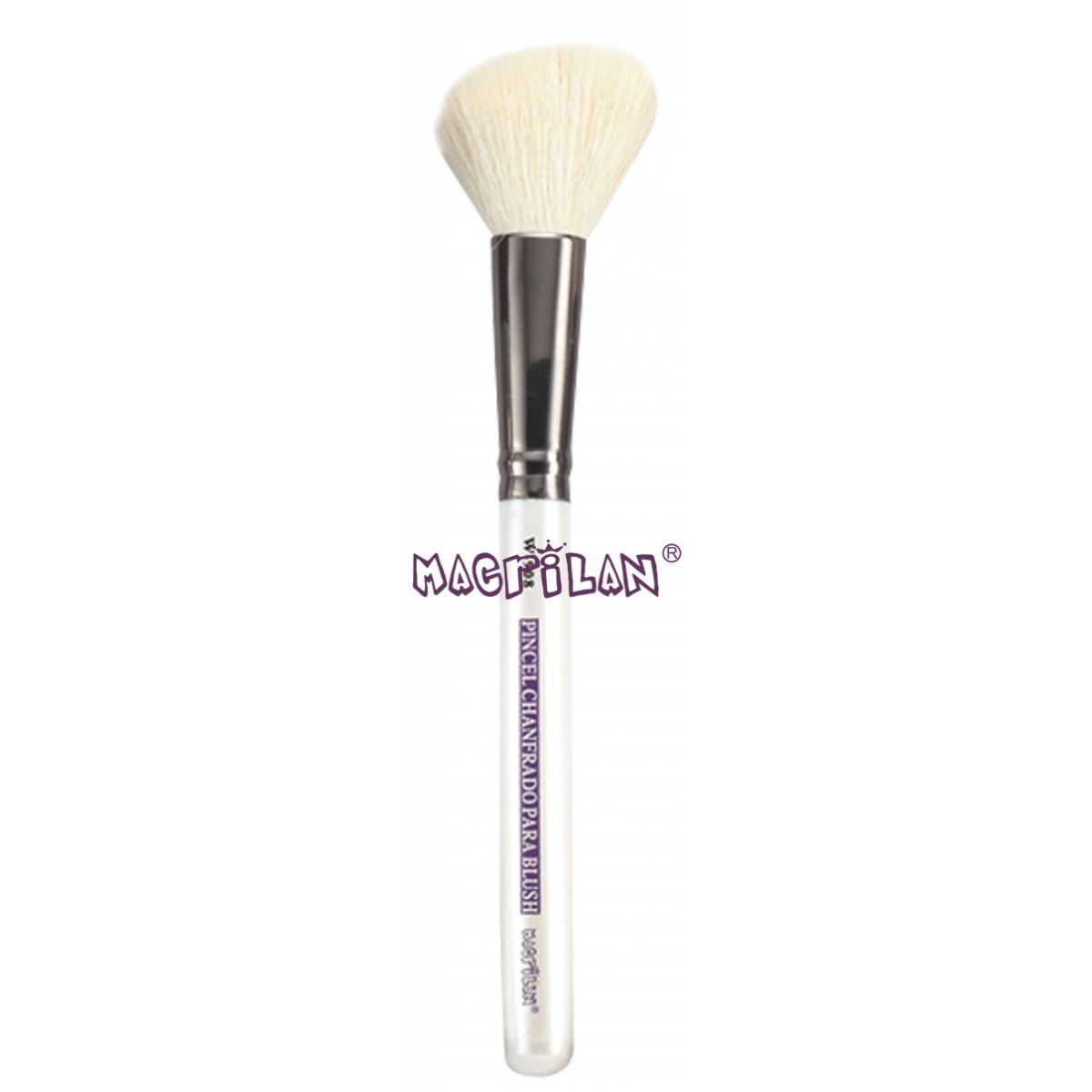 Pincel Macrilan Chanfrado para Blush W908 - Maquiagem Profissional com Cerdas Naturais