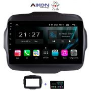 Central Multimidia Aikon Atom  Jeep Renegade Tela 9 Polegadas - TV Digital - GPS Bluetooth MP3 USB - 2 Câmera de Ré + Frontal - Sistema Android 9.0