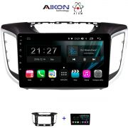 Central Multimidia Hyundai Creta Aikon Atom - Tela 10 Polegadas - TV Digital FULL HD - GPS Bluetooth MP3 USB - 2 Câmera de Ré + Frontal - Sistema Android 8.1