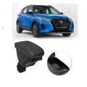 Encosto Descanso de Braço Apoio Nissan Kicks - Grafite / Preto - Couro Ecológico Encaixe Porta Copos Console