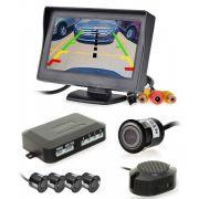 Kit Sensor de Estacionamento 4 pontos + Monitor Tela LCD 4.3 + Câmera Ré