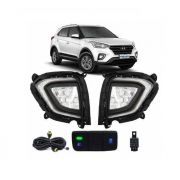 Kit Farol de Milha Neblina Hyundai Creta 2020 2021 - Interrup Original + FULL LED + Led Pisca Sequencial