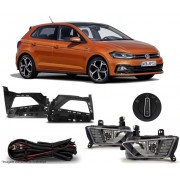 Kit Farol de Milha Neblina Vw Polo Virtus 2017 a 2021  - Interruptor Original + LED DRL