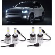 Kit Lampadas Jeep Compass - LED ULtra 5600 Lumes  - 6000K -  2 kits Luz Diurna + Milha