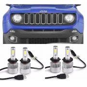 _Kit Lampadas Jeep Renegade - LED ULtra 8000 Lumes  - 6000K -  2 kits Farol Baixo / Alto + Milha