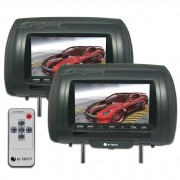 Par Encosto / Descanso De Cabeça E-Tech -AV - Escravo -  Universal - Couro Tela LCD 7´ - 2 Peças