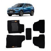 Tapete Chevrolet Novo Tracker 2015 - 2021 - Carpete Preto Bordado Logo