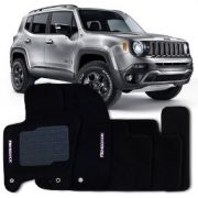 Tapete Jeep Renegade 2015 - 2018 - Carpete Preto Bordado Logo