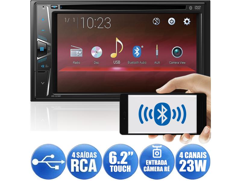 Central Multimidia Pioneer AVH-G 218BT - Tela 6,2 pol - Bluetooth Entr. USB  Leitor DVD/CD - espelhamento Waze + Camera de ré  ( Produto Instalado )