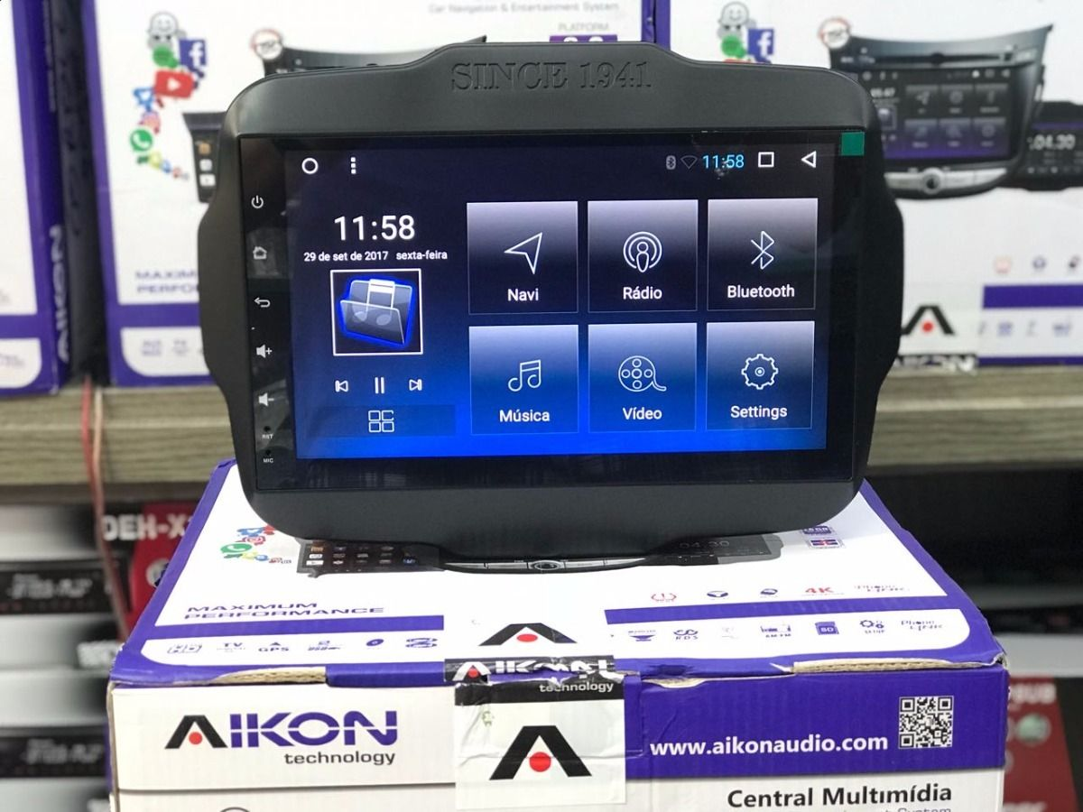 Central Multimidia Aikon 8.0 Jeep Renegade PCD Tela 9 Polegadas - GPS Mapa Bluetooth MP3 USB Ipod SD TV Digital Card Câmera de Ré - Sistema Android 6.0