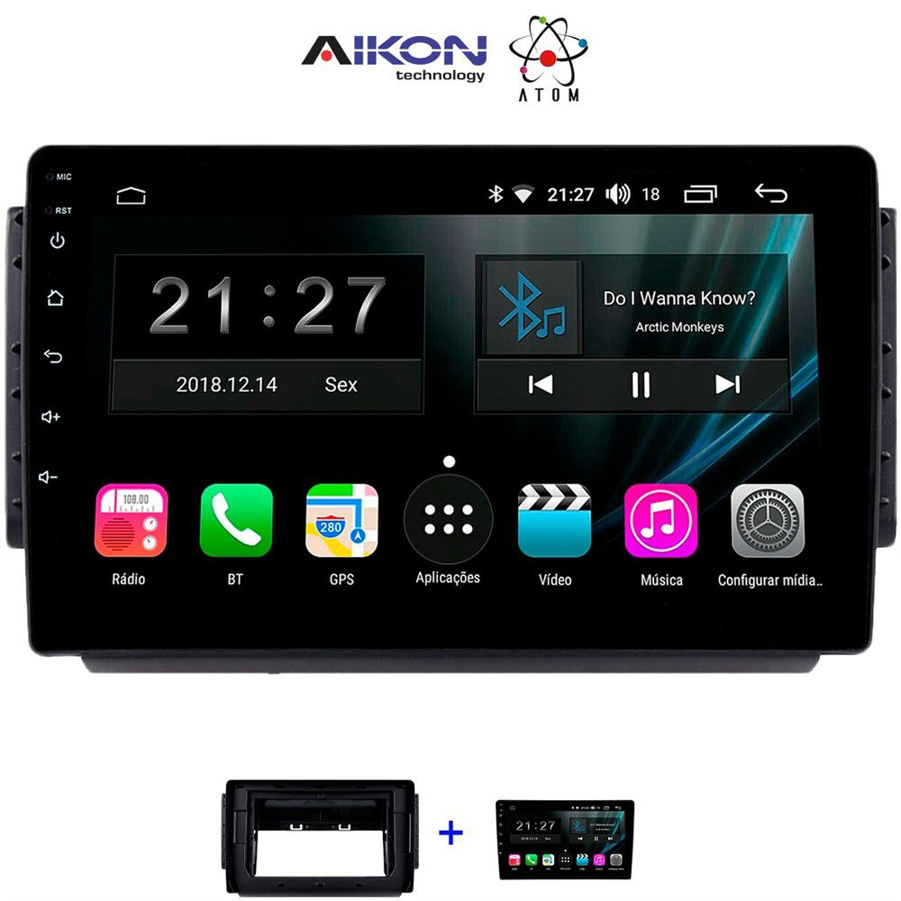 Central Multimidia Aikon Atom  Honda HRV 2016 / 2020  Tela 9 Polegadas - TV Digital FULL HD - GPS Bluetooth MP3 USB - 2 Câmera de Ré + Frontal - Sistema Android 9.0