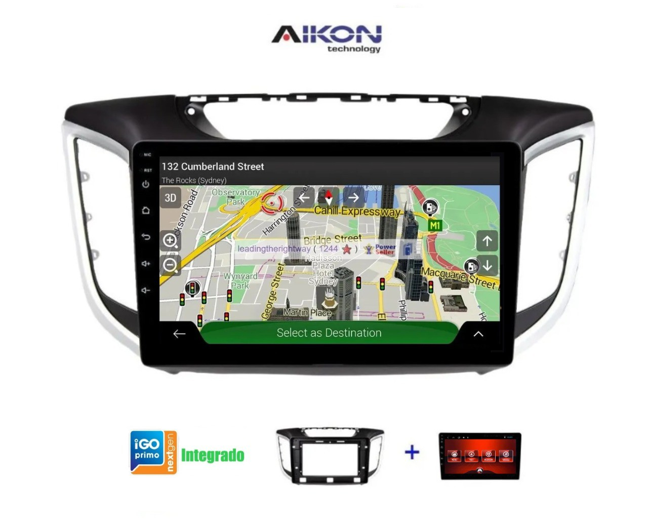 Central Multimidia Aikon Creta Tela 10 Polegadas - SlimLine  - GPS Mapa Bluetooth MP3 USB Ipod Câmera de Ré - TV  Digital via APP - Sistema Android 8.1