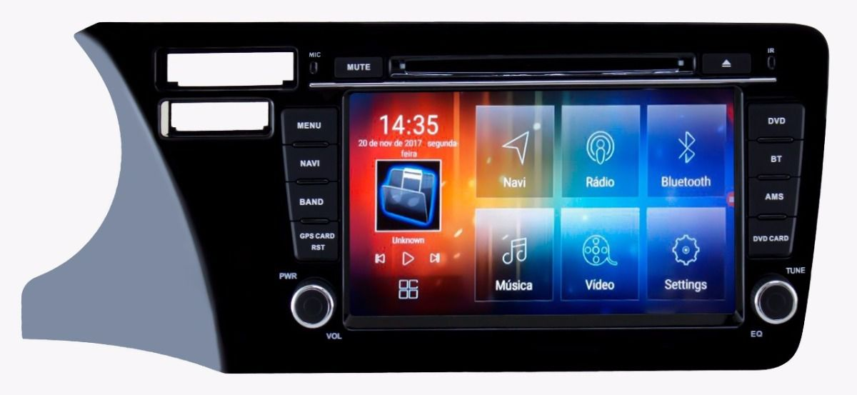 "Central Multimidia Aikon Honda City 2015 a 2019  Tela 8"" Aikon 8.0 Android Plataforma - GPS Mapa Bluetooth MP3 USB Leitor DVD  TV Digital  Card Câmera de Ré - Sistema Android 6.0"