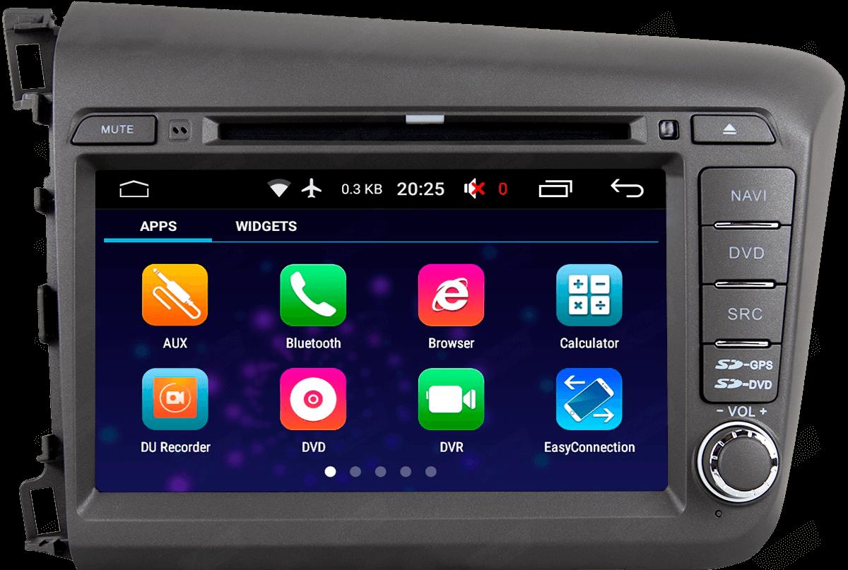 Central Multimidia Aikon Honda CIVIC 2012-2016 - X2  Tela 8 Polegadas - Leitor DVD - GPS  Bluetooth - 2 entradas USB  TV Digital - 2 cameras ré + frontal - Sistema Android 8.1