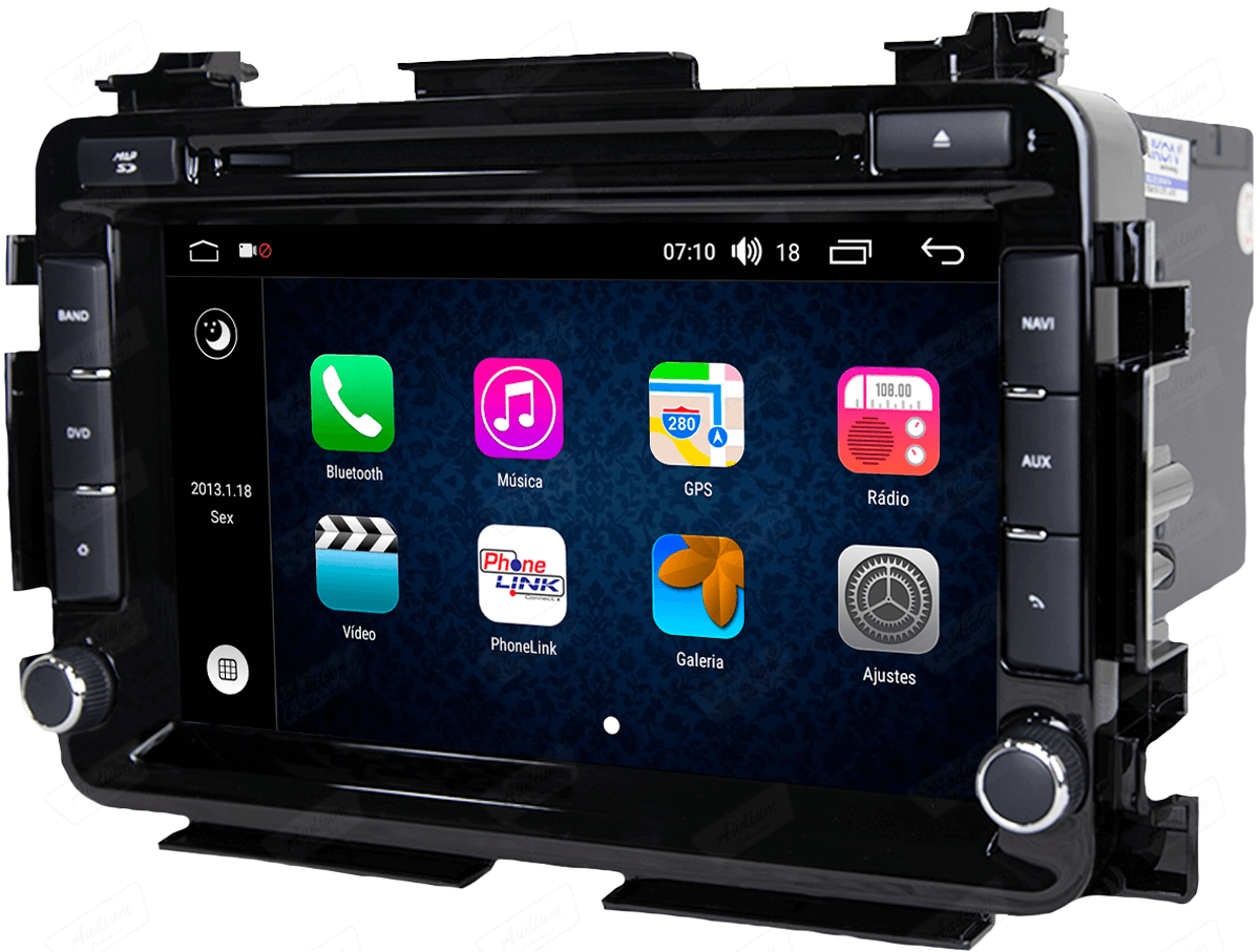 Central Multimidia Aikon Honda HRV - X2  Tela 8 Polegadas - Leitor DVD - GPS  Bluetooth - 2 entradas USB  TV Digital FULLHD - 2 cameras ré + frontal - Sistema Android 8.1