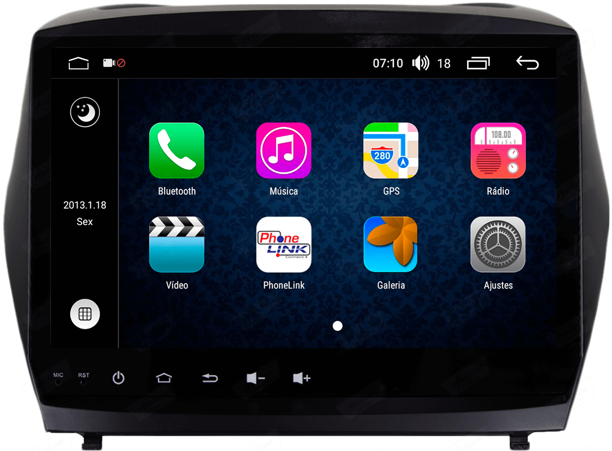 Central Multimidia Aikon Hyundai IX35 - 2010-2017 X2  Tela 9 Polegadas - GPS  Bluetooth - 2 entradas USB  TV Digital - 2 cameras ré + frontal - Sistema Android 8.1