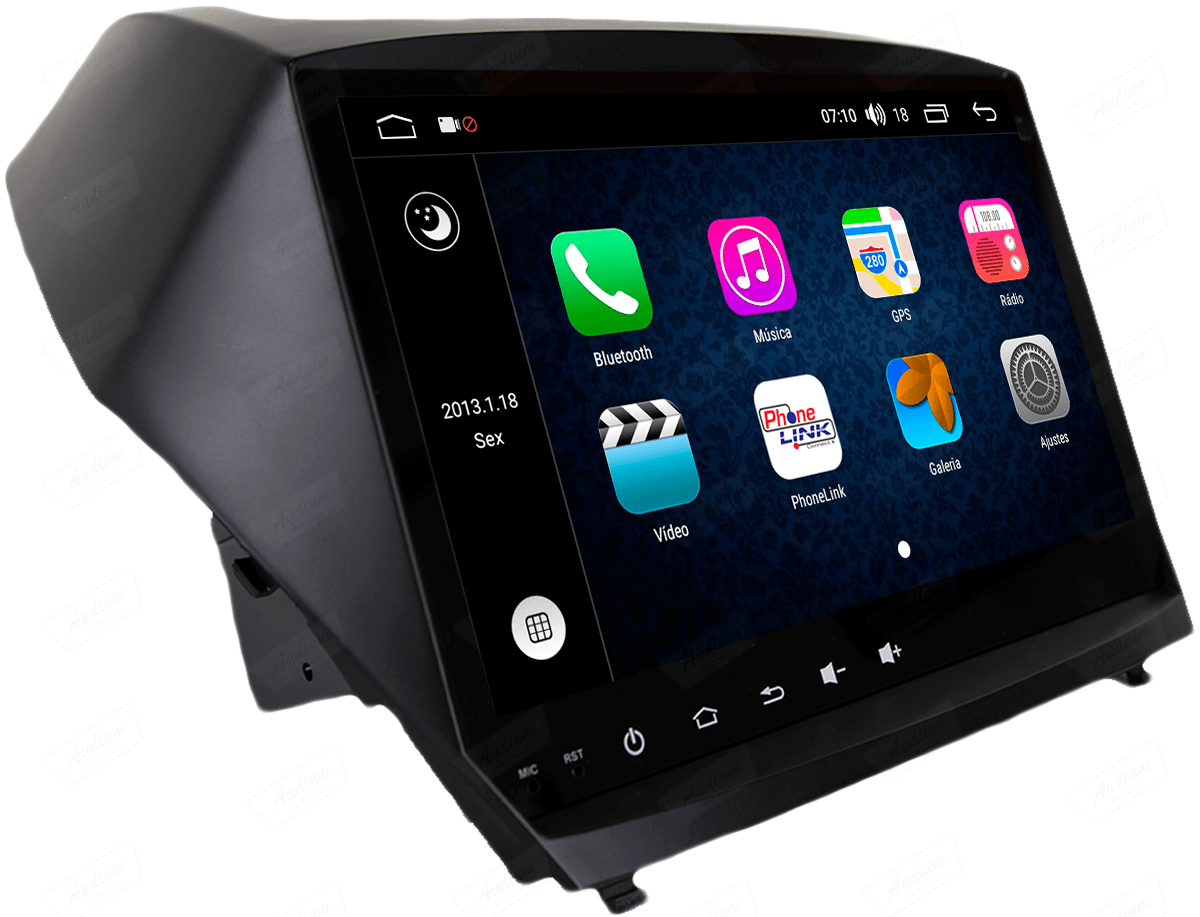 Central Multimidia Aikon Hyundai IX35 - 2010-2017 X2  Tela 9 Polegadas - GPS  Bluetooth - 2 entradas USB  TV Digital - 2 cameras ré + frontal - Sistema Android 8.1