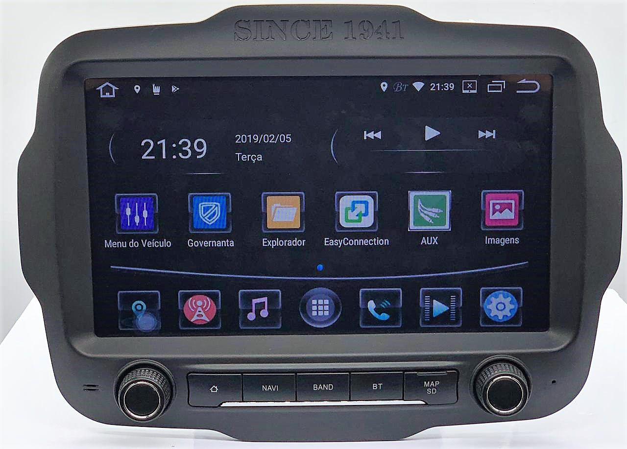 Central Multimidia Jeep Renegade PCD S800 - Android 8.1 Tela 9 Polegadas - GPS Mapa Bluetooth MP3 USB Ipod SD TV Digital Câmera de Ré - Sistema Android