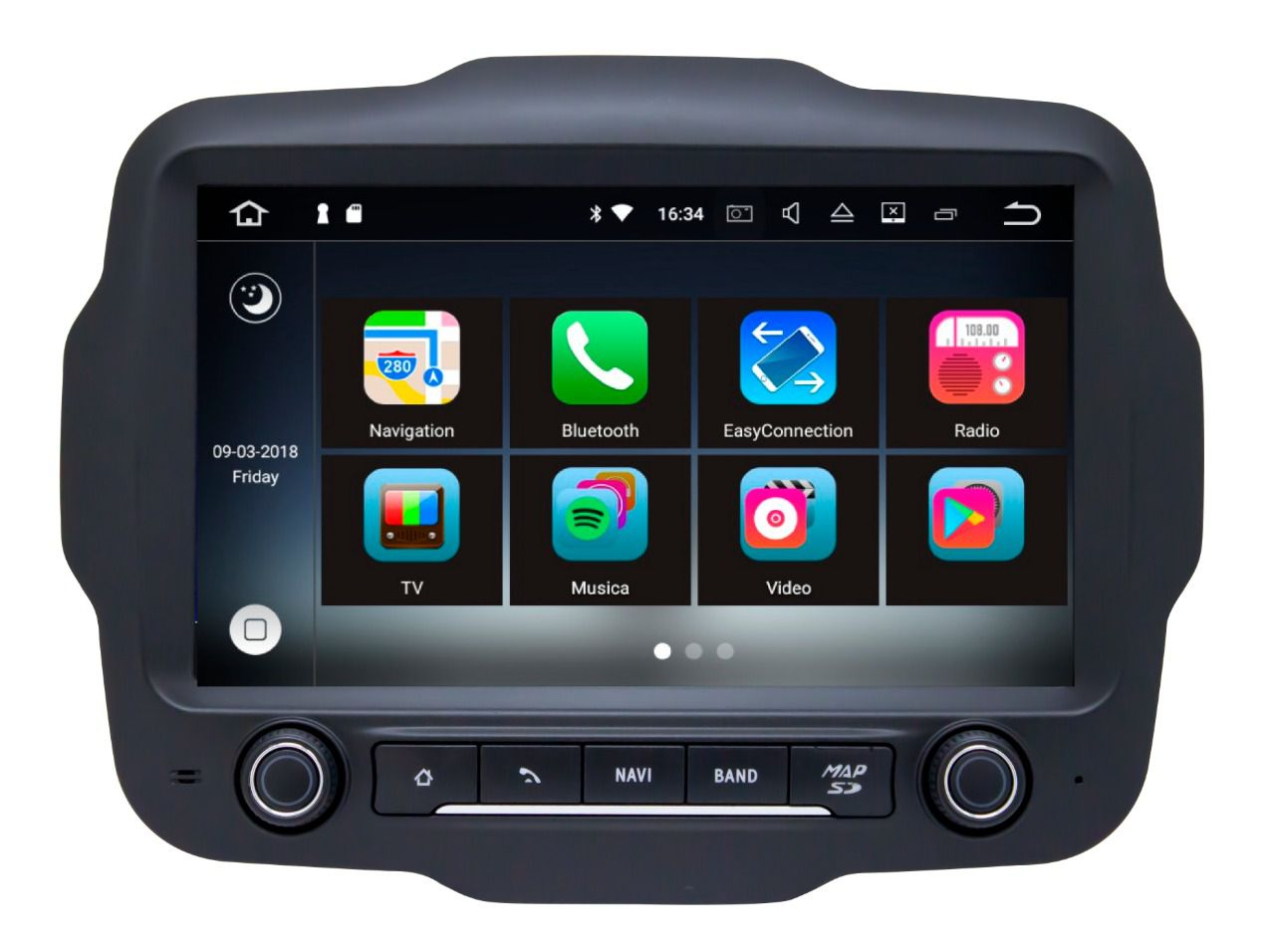 Central Multimidia Aikon  Jeep Renegade PCD - XDROID 8.0 Tela 9 Polegadas - GPS Mapa Bluetooth MP3 USB Ipod SD TV Digital FULLHD Card Câmera de Ré - Sistema Android 6.0