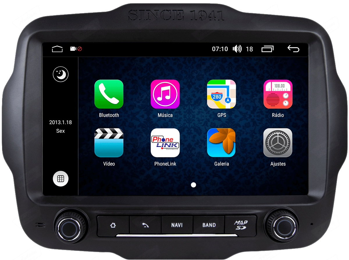 Central Multimidia Aikon Jeep RENEGADE - X2  Tela 9 Polegadas - GPS  Bluetooth - 2 entradas USB  TV Digital - 2 cameras ré + frontal - Sistema Android 8.1
