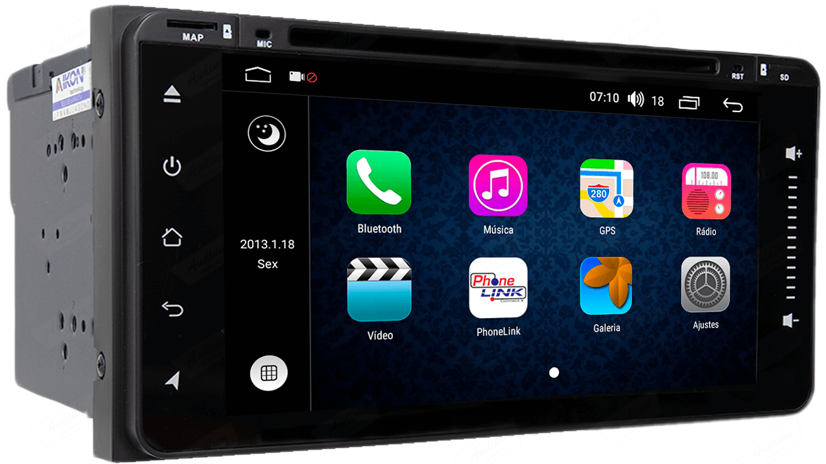 Central Multimidia Aikon Toyota Etios 2014/2020 Hilux 2005/2011 X2  Tela 7 Polegadas - GPS  Bluetooth - 2 entradas USB  TV Digital - 2 cameras ré + frontal - leitor DVD - Sistema Android 8.1