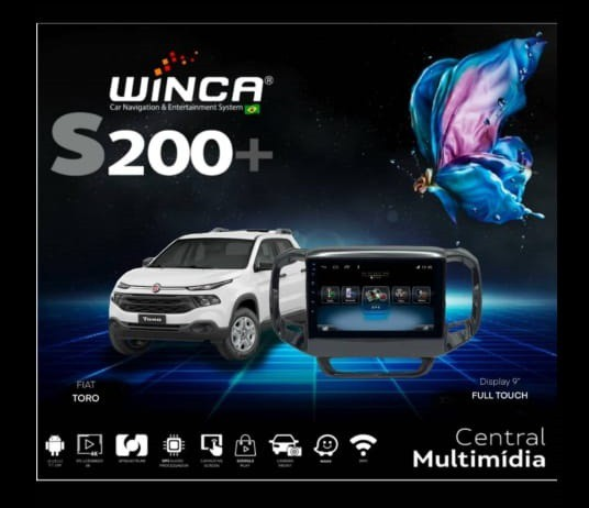 Central Multimidia Fiat Toro Winca S200+  Tela 9 pol - Waze Spotify - 2 cameras Ré + Frontal - TV  Digital via APP - GPS Integrado -  Bluetooth - 2 entradas USB - Android 9.0