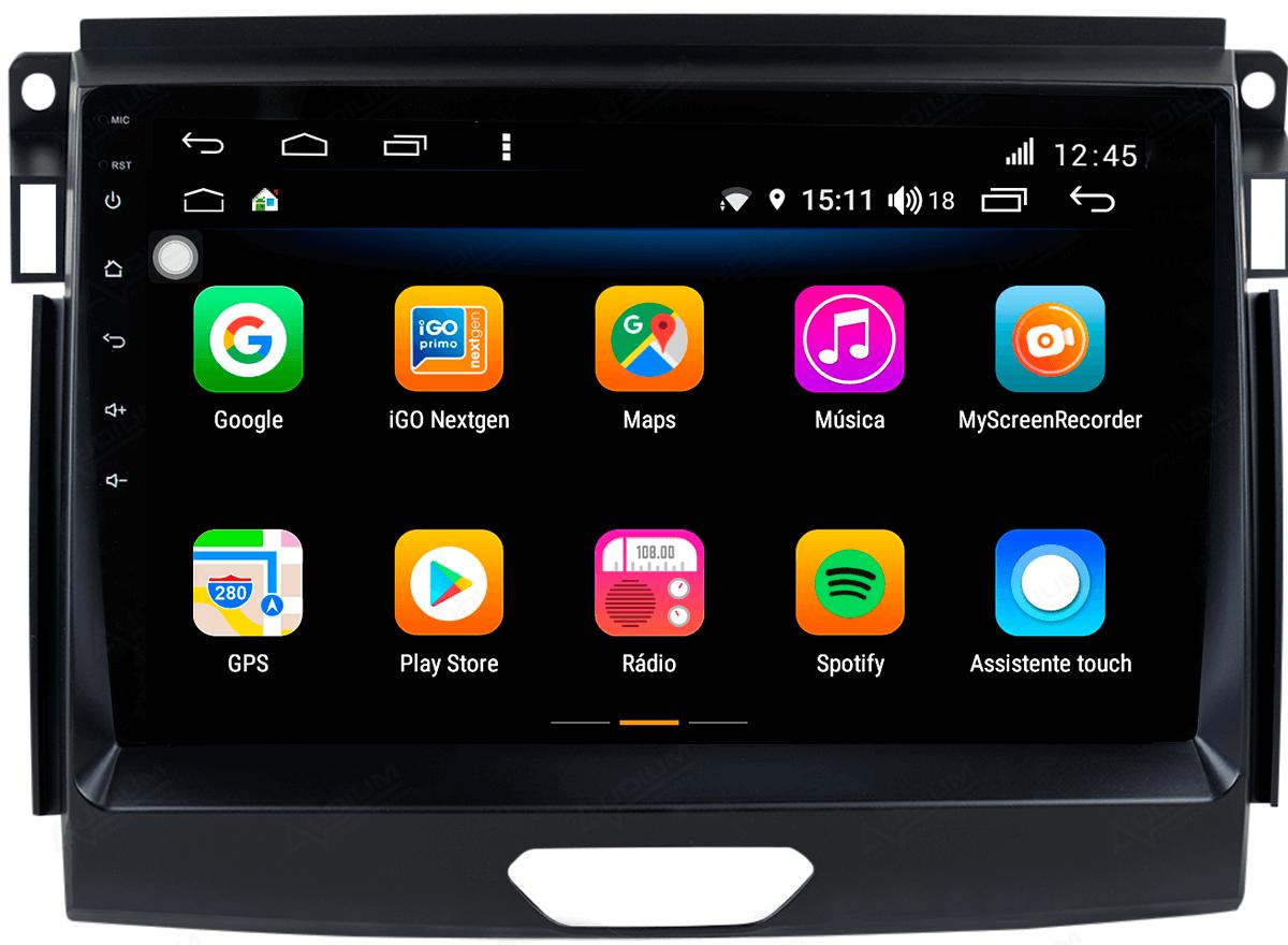 Central Multimidia Ford RANGER 2016/2019 xls -  Aikon ATOM X9 - Tela 9 pol - Waze Spotify - 2 cameras Ré + Frontal - TV  Digital - GPS Integrado -  Bluetooth - 2 entradas USB - Android 8.1