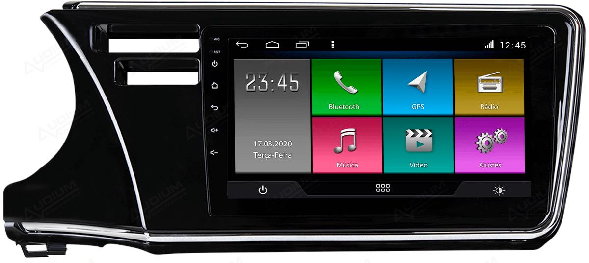 Central Multimidia Honda City 2015 a 2020 -  Aikon ATOM X9 - Tela 9 pol - Waze Spotify - 2 cameras Ré + Frontal - TV  Digital - GPS Integrado -  Bluetooth - 2 entradas USB - Android 8