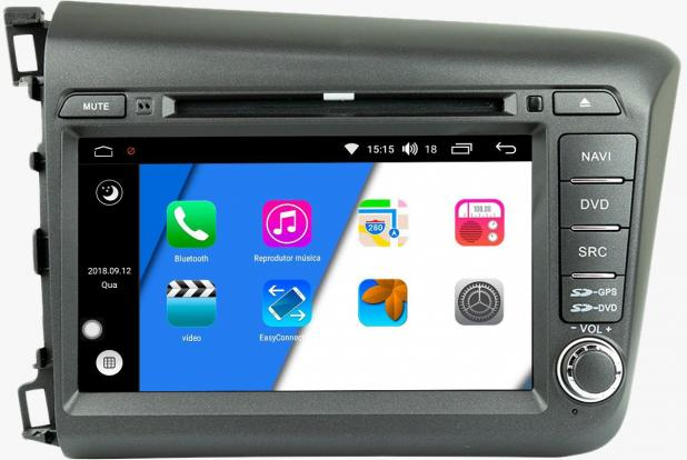 Central Multimídia Honda Civic 2012 á 2016 -  Aikon Xdroid - Android  Mapa Bluetooth MP3 USB Ipod SD Card Câmera Ré Grátis