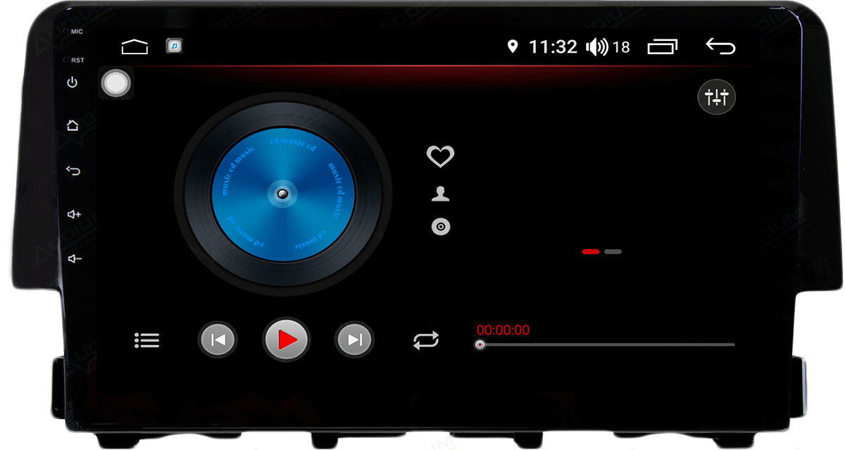 Central Multimidia Honda Civic G10 2017 / 2020 -  Aikon ATOM X9 - Tela 9 pol - Waze Spotify - 2 cameras Ré + Frontal - TV  Digital - GPS Integrado -  Bluetooth - 2 entradas USB - Android 8.1