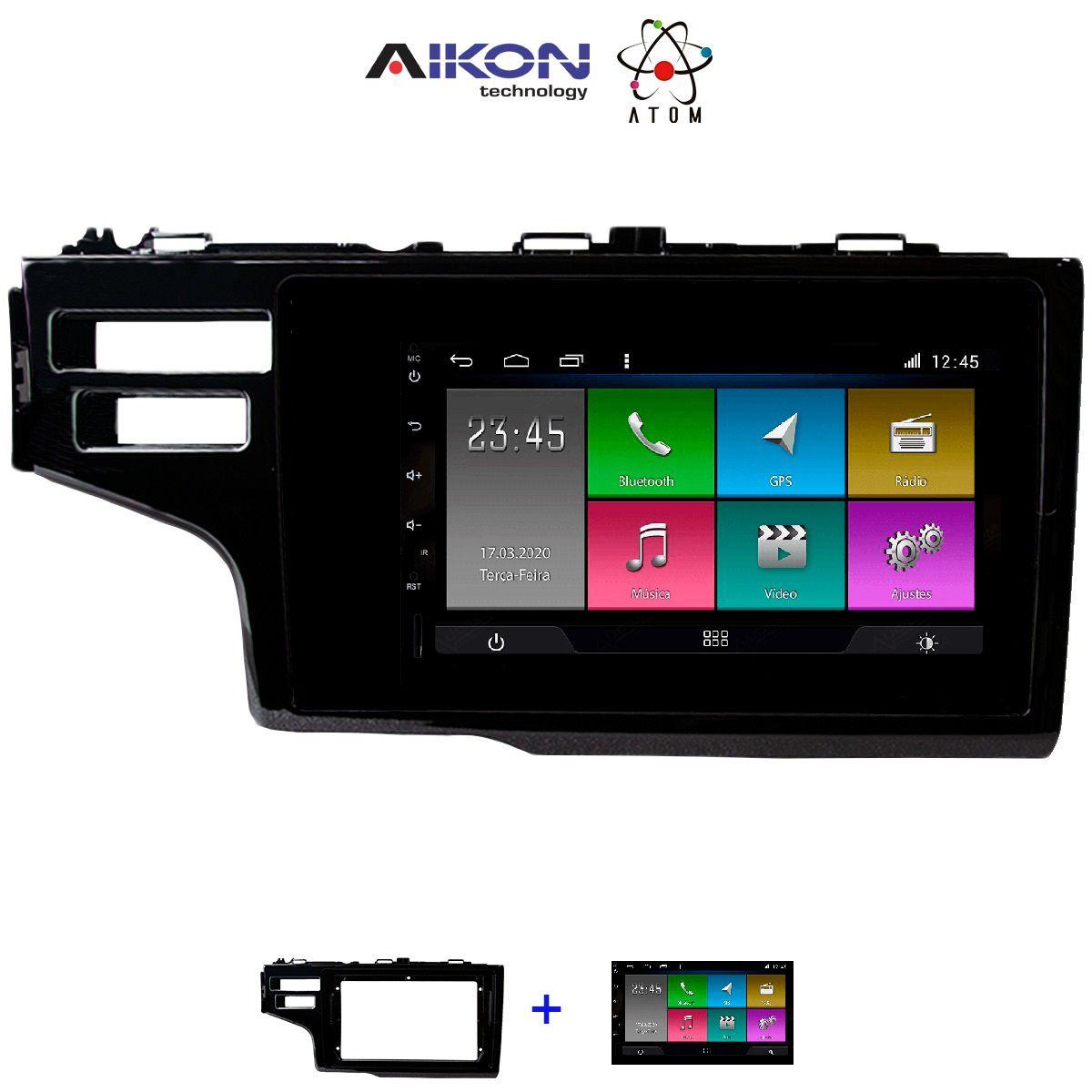 Central Multimidia Honda Fit 2018 a 2020 Tela 7 pol -  Aikon ATOM X7 - Android 8.1 - 2 cameras Camera de ré + Frontal - TV  Digital - GPS Mapa Bluetooth MP3 USB Ipod SD Card