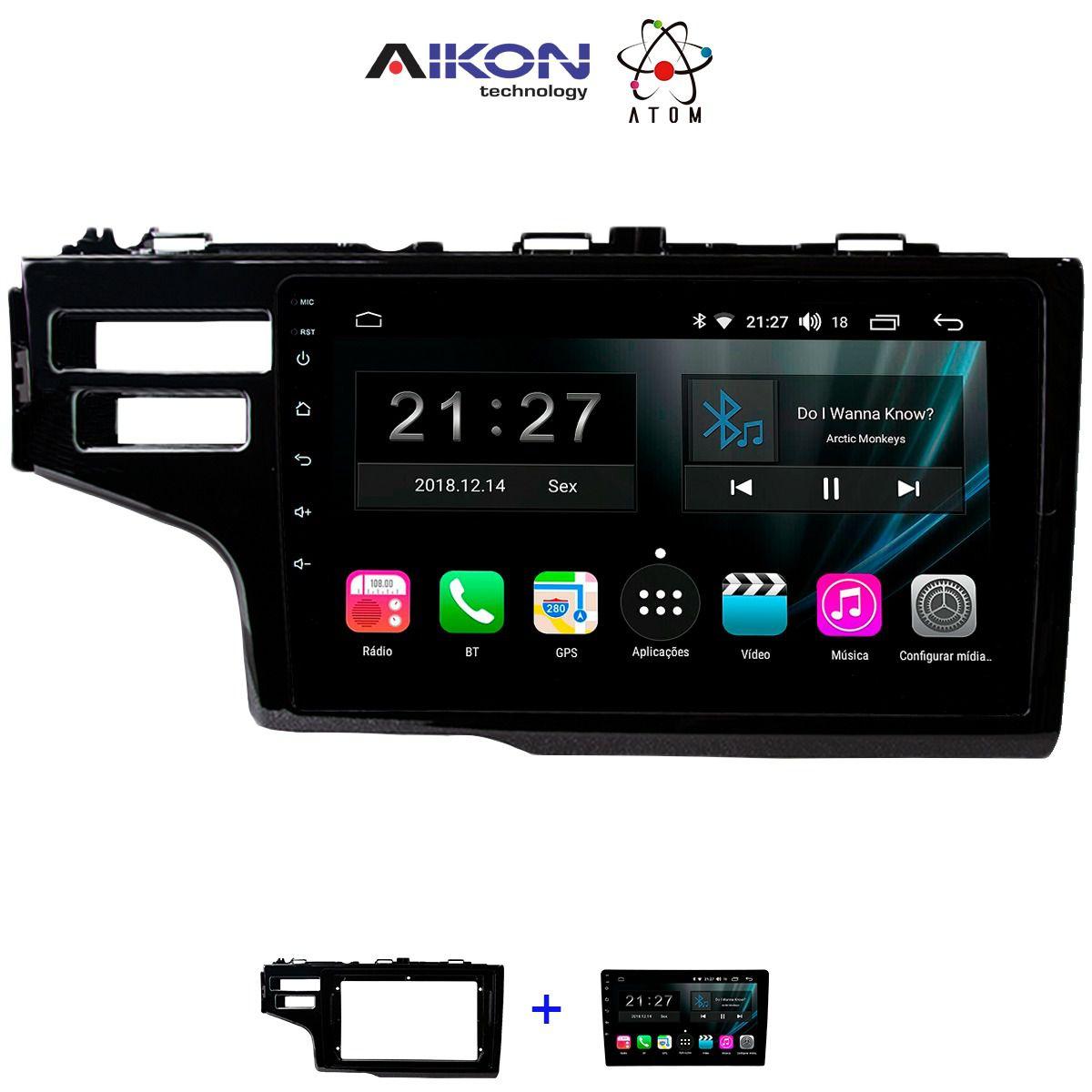 Central Multimidia Honda FIT 2019 Personal Aikon ATOM- Tela Tela 9 Polegadas - TV Digital FULL HD - GPS Bluetooth MP3 USB - 2 Câmera de Ré + Frontal - Sistema Android 8.1