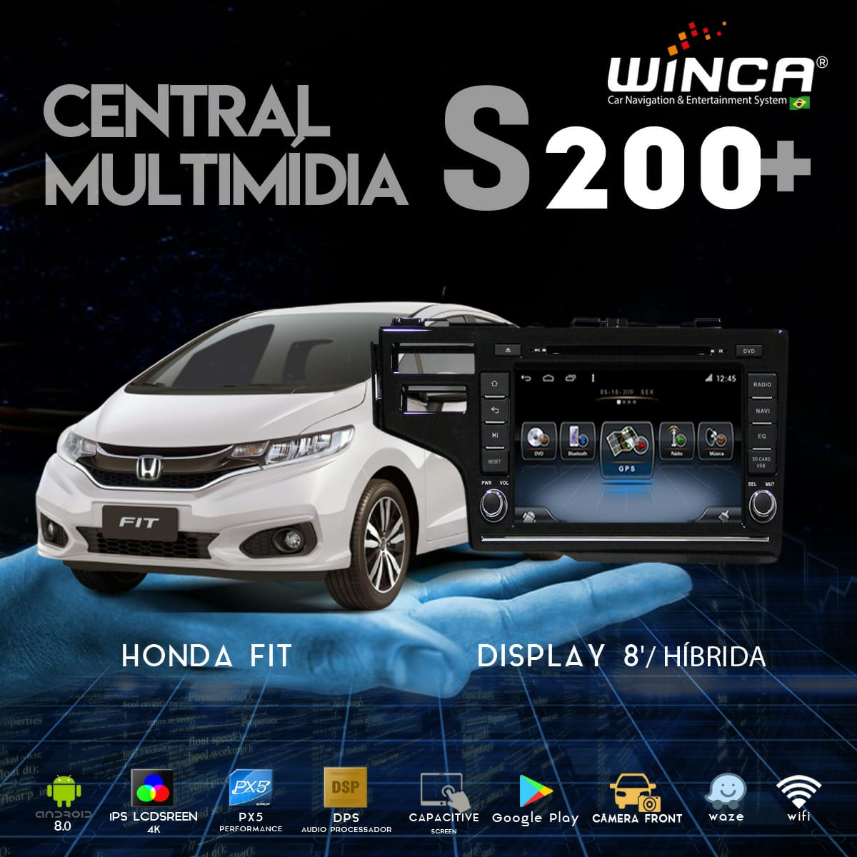Central Multimidia Honda WRV / FIT 2015 a 2020  - Winca Tela 8 polegas  - Waze Spotify youtube - 2 cameras Ré + Frontal - TV  Digital - GPS Integrado -  Bluetooth - 2 entradas USB - Android 9.0