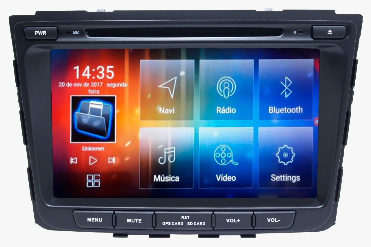 Central Multimidia Hyundai Creta  Aikon 8.0 tela 8 polegadas - Android + Camera de ré -  Espelhamento DVD GPS Mapa Bluetooth MP3 USB Ipod SD Card Câmera Ré Grátis
