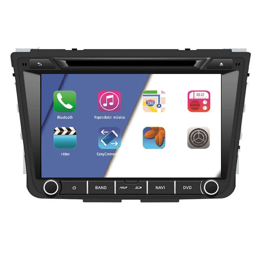 "Central Multimidia Hyundai Creta  Aikon Tela 8"" - Android 8.1 TV Digital Leitor DVD GPS Waze Spotify - Bluetooth - 2 entr. Usb - 2 Câmeras: Ré + Frontal"
