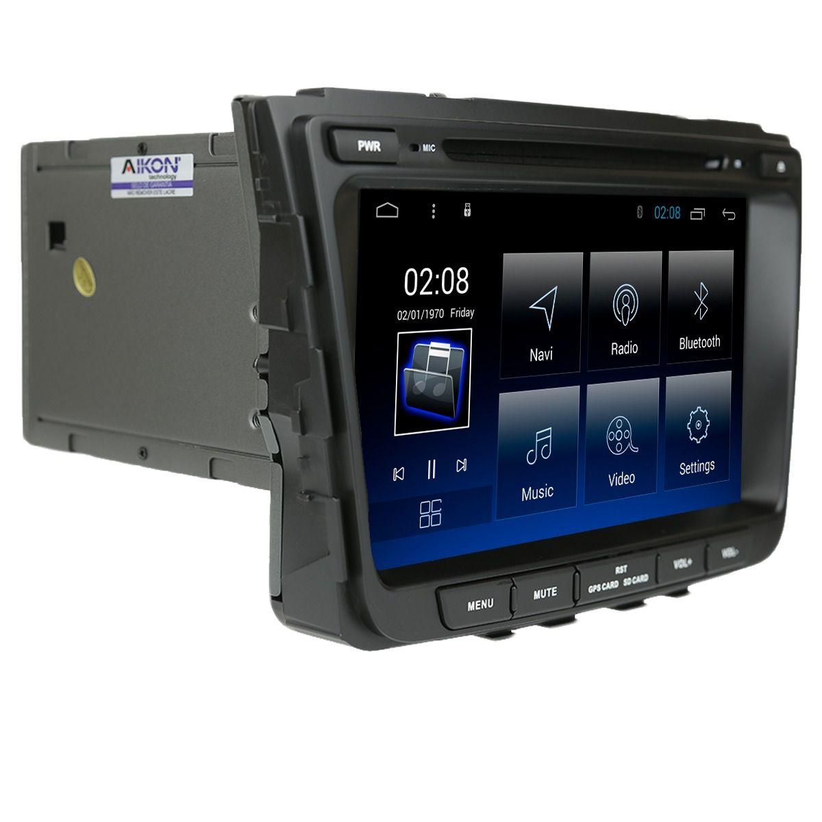 """Central Multimidia Hyundai Creta  Aikon Tela 8"""" - Android 8.1 Processador 8X -  DVD GPS Waze Youtube Bluetooth - 2 entradas USB - SD Card + Câmera Ré c/ Linhas"""