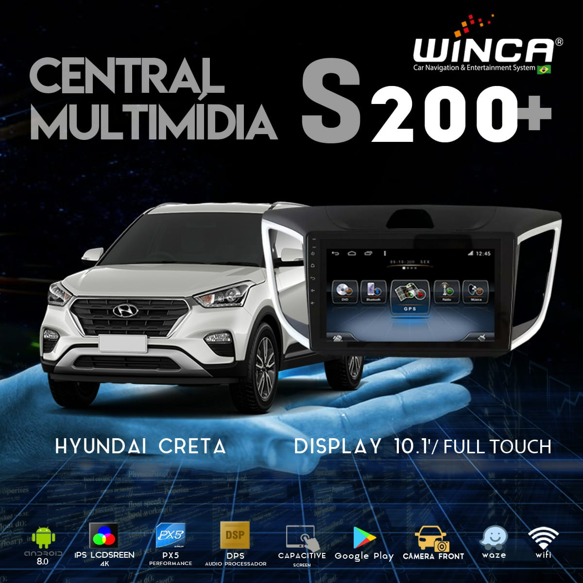 Central Multimidia Hyundai Creta Winca S200 OctaCore Tela 10 pol - Waze Spotify - 2 cameras Ré + Frontal - TV  Digital via APP  - GPS Integrado -  Bluetooth - 2 entradas USB - Android 9.0